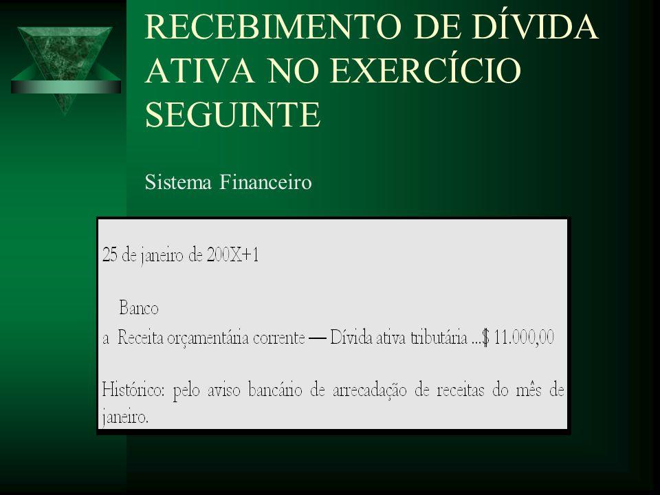 RECEBIMENTO DE DÍVIDA ATIVA NO EXERCÍCIO SEGUINTE Sistema Financeiro