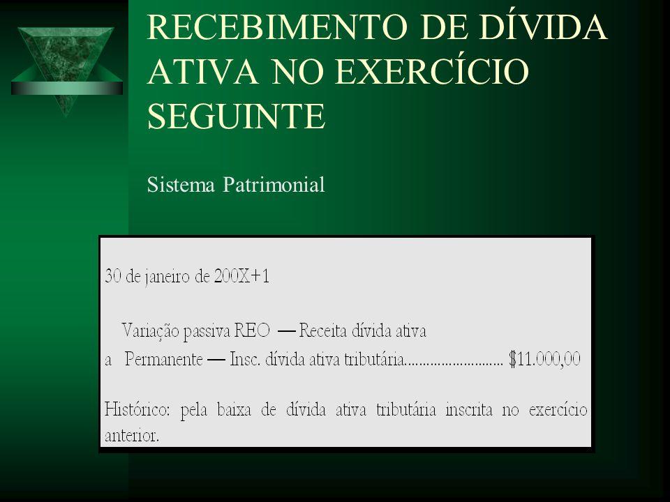 RECEBIMENTO DE DÍVIDA ATIVA NO EXERCÍCIO SEGUINTE Sistema Patrimonial