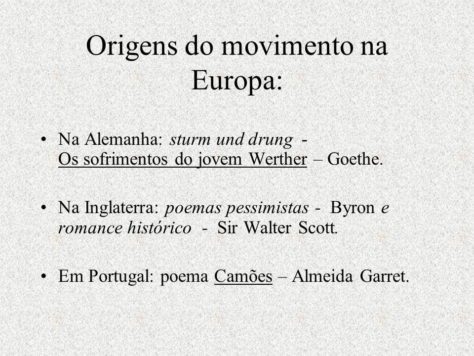 Origens do movimento na Europa: Na Alemanha: sturm und drung - Os sofrimentos do jovem Werther – Goethe. Na Inglaterra: poemas pessimistas - Byron e r