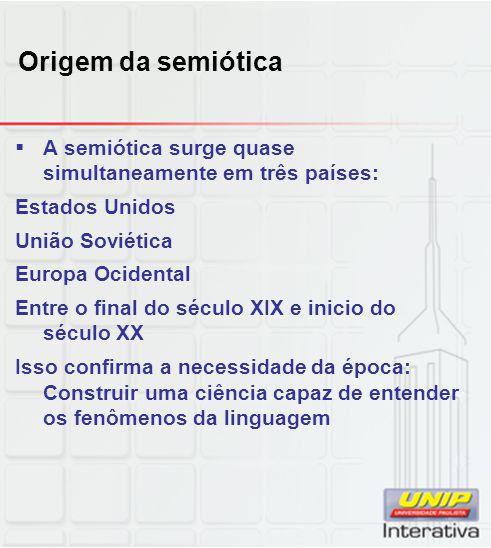 Origem da semiótica A semiótica surge quase simultaneamente em três países: Estados Unidos União Soviética Europa Ocidental Entre o final do século XI