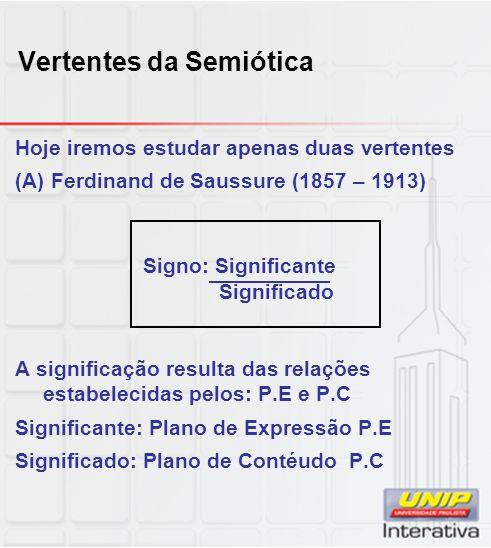 Vertentes da Semiótica Hoje iremos estudar apenas duas vertentes (A) Ferdinand de Saussure (1857 – 1913) Signo: Significante Significado A significaçã