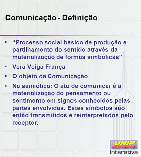 Comunicação - Definição Processo social básico de produção e partilhamento do sentido através da materialização de formas simbólicas Vera Veiga França