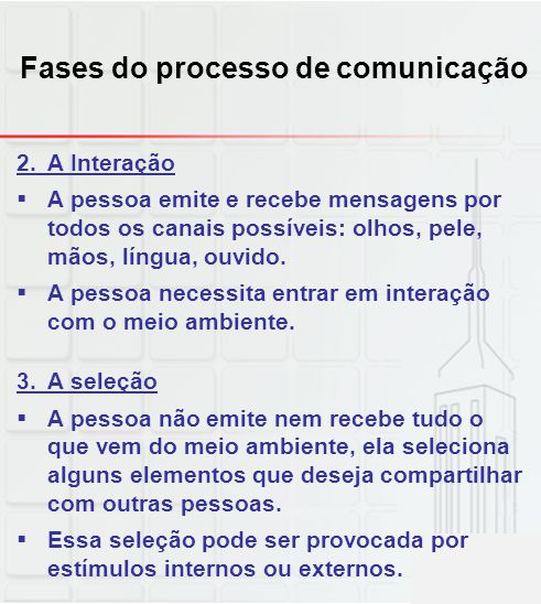 Fases do processo de comunicação 2.A Interação A pessoa emite e recebe mensagens por todos os canais possíveis: olhos, pele, mãos, língua, ouvido. A p
