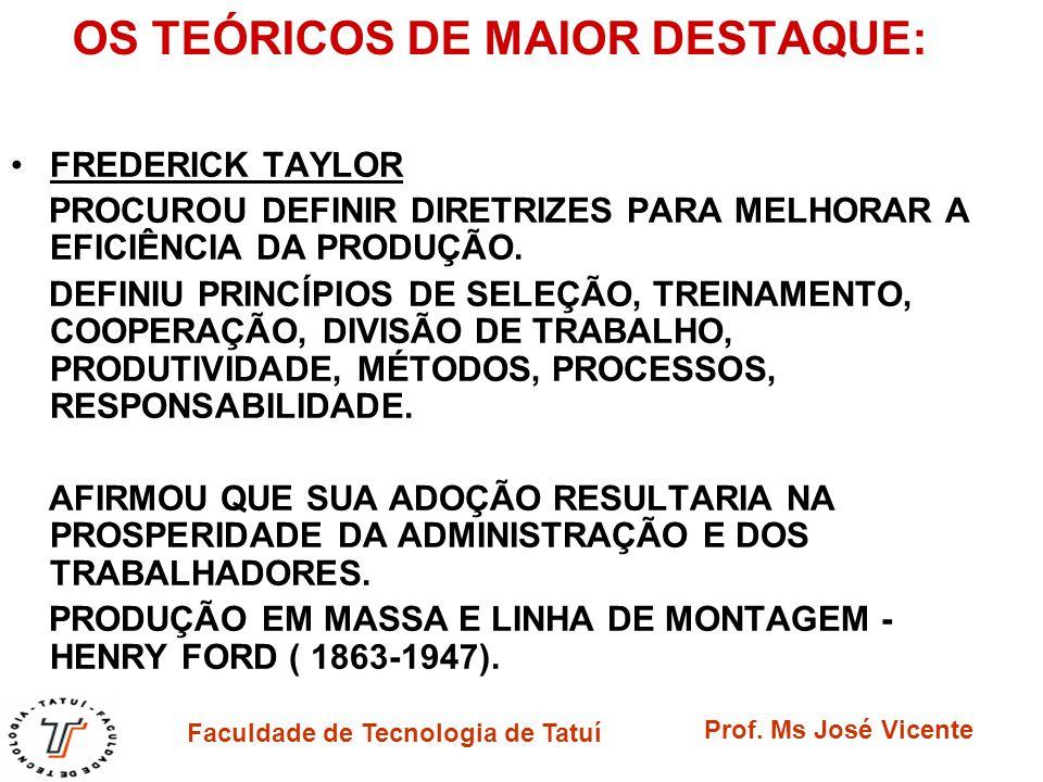 Faculdade de Tecnologia de Tatuí Prof. Ms José Vicente OS TEÓRICOS DE MAIOR DESTAQUE: FREDERICK TAYLOR PROCUROU DEFINIR DIRETRIZES PARA MELHORAR A EFI