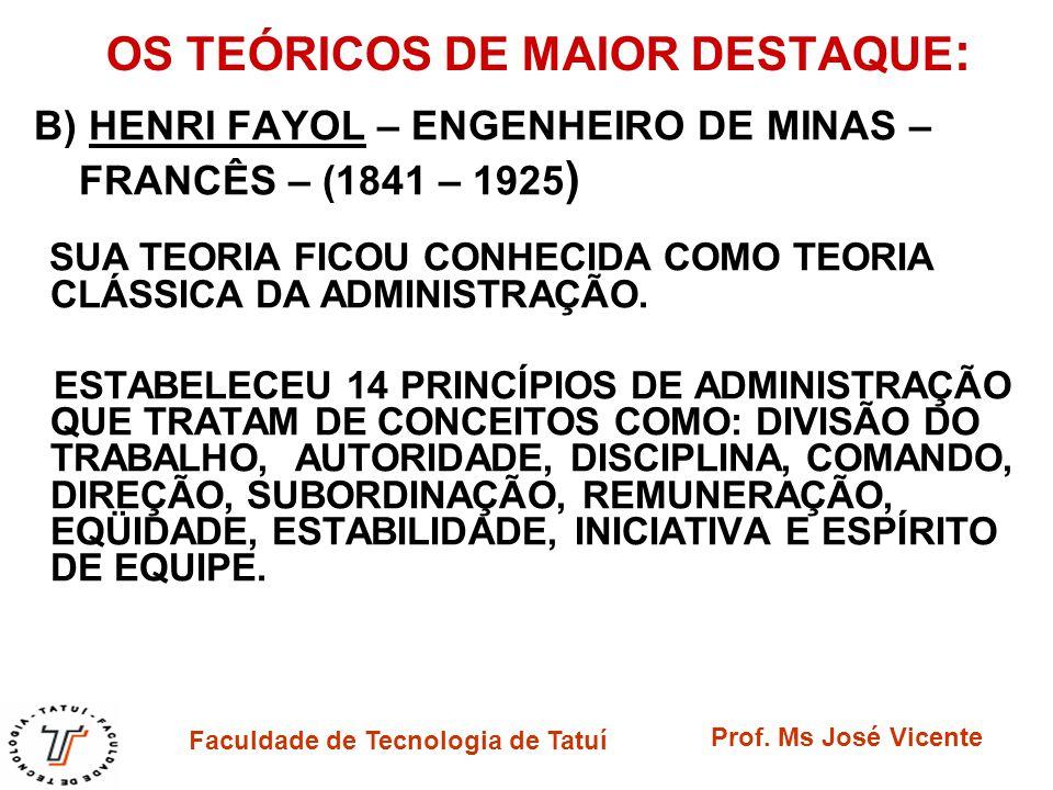 Faculdade de Tecnologia de Tatuí Prof. Ms José Vicente OS TEÓRICOS DE MAIOR DESTAQUE : B) HENRI FAYOL – ENGENHEIRO DE MINAS – FRANCÊS – (1841 – 1925 )