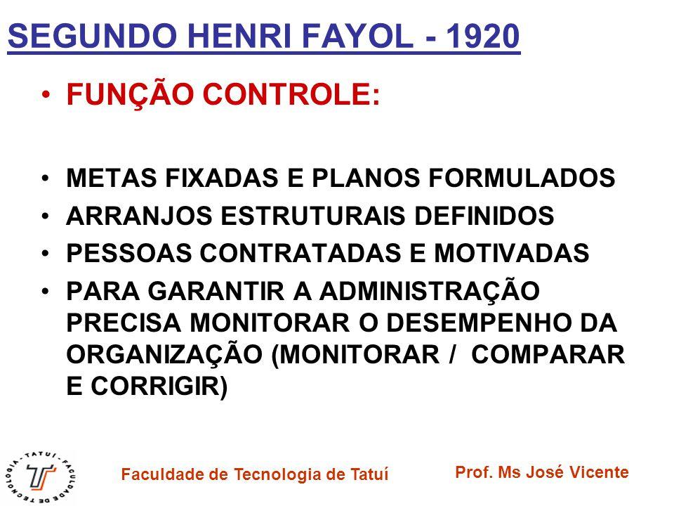 Faculdade de Tecnologia de Tatuí Prof. Ms José Vicente SEGUNDO HENRI FAYOL - 1920 FUNÇÃO CONTROLE: METAS FIXADAS E PLANOS FORMULADOS ARRANJOS ESTRUTUR