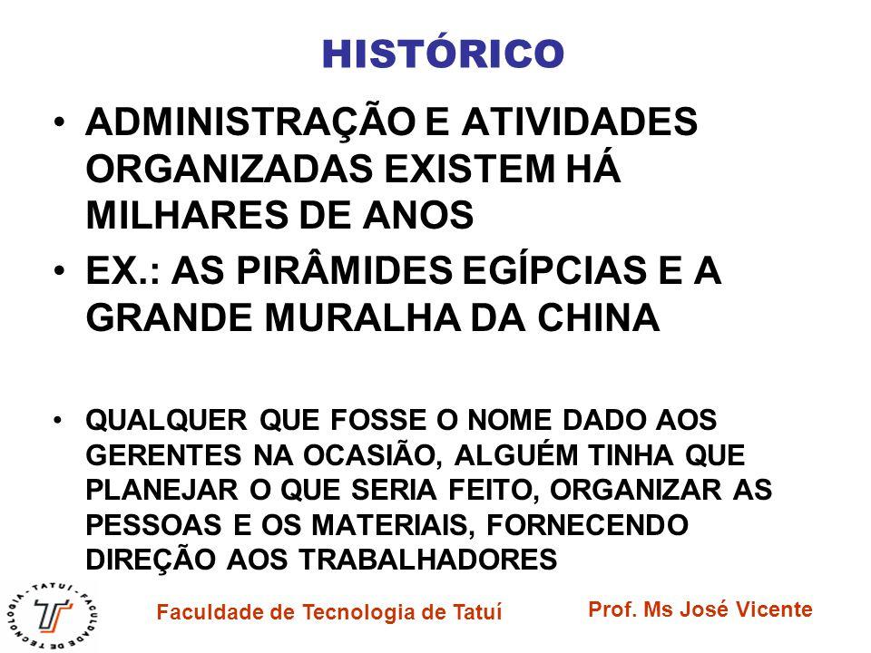 Faculdade de Tecnologia de Tatuí Prof. Ms José Vicente HISTÓRICO ADMINISTRAÇÃO E ATIVIDADES ORGANIZADAS EXISTEM HÁ MILHARES DE ANOS EX.: AS PIRÂMIDES
