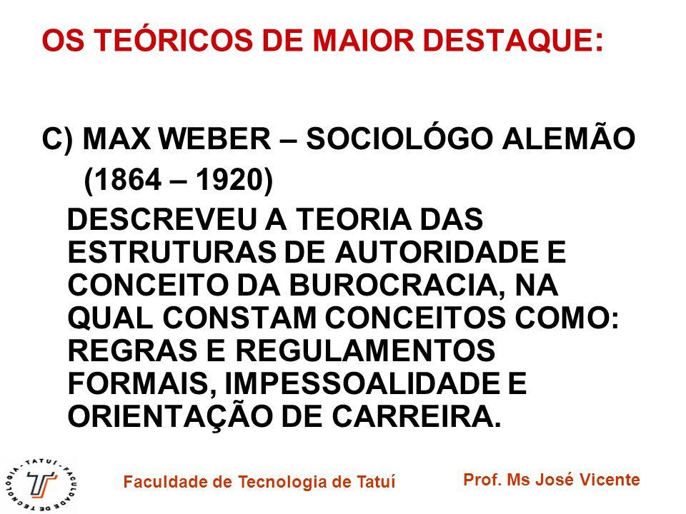 Faculdade de Tecnologia de Tatuí Prof. Ms José Vicente OS TEÓRICOS DE MAIOR DESTAQUE : C) MAX WEBER – SOCIOLÓGO ALEMÃO (1864 – 1920) DESCREVEU A TEORI