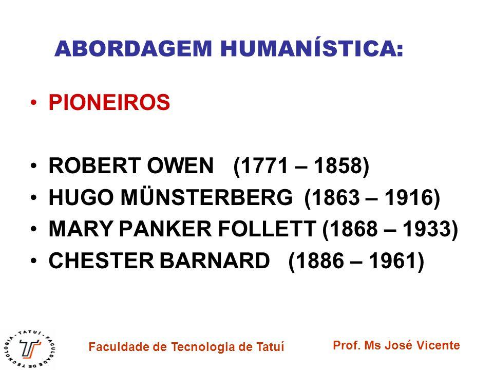 Faculdade de Tecnologia de Tatuí Prof. Ms José Vicente ABORDAGEM HUMANÍSTICA: PIONEIROS ROBERT OWEN (1771 – 1858) HUGO MÜNSTERBERG (1863 – 1916) MARY