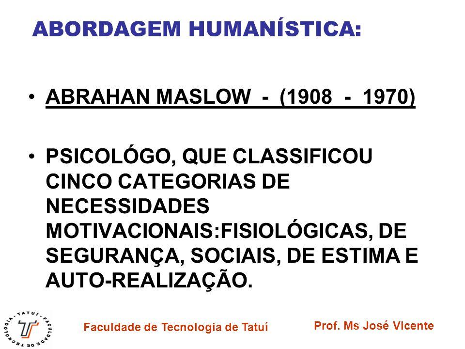Faculdade de Tecnologia de Tatuí Prof. Ms José Vicente ABORDAGEM HUMANÍSTICA: ABRAHAN MASLOW - (1908 - 1970) PSICOLÓGO, QUE CLASSIFICOU CINCO CATEGORI