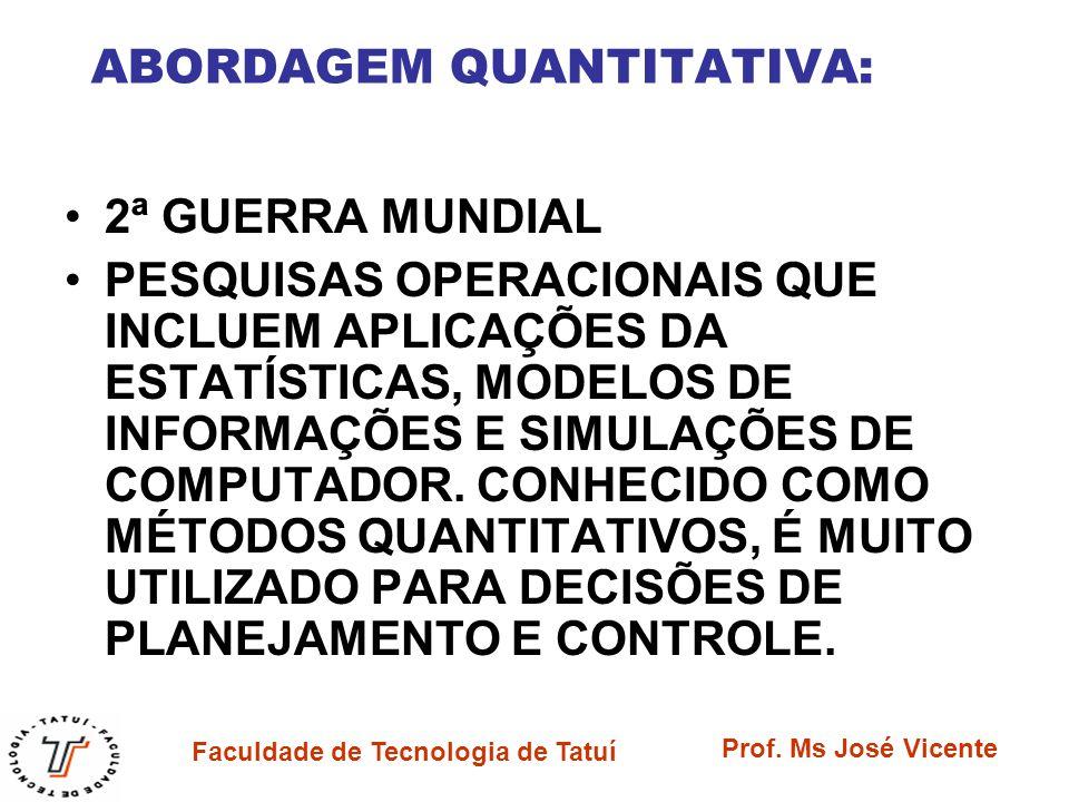 Faculdade de Tecnologia de Tatuí Prof. Ms José Vicente ABORDAGEM QUANTITATIVA: 2ª GUERRA MUNDIAL PESQUISAS OPERACIONAIS QUE INCLUEM APLICAÇÕES DA ESTA