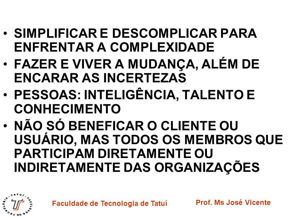 Faculdade de Tecnologia de Tatuí Prof. Ms José Vicente SIMPLIFICAR E DESCOMPLICAR PARA ENFRENTAR A COMPLEXIDADE FAZER E VIVER A MUDANÇA, ALÉM DE ENCAR