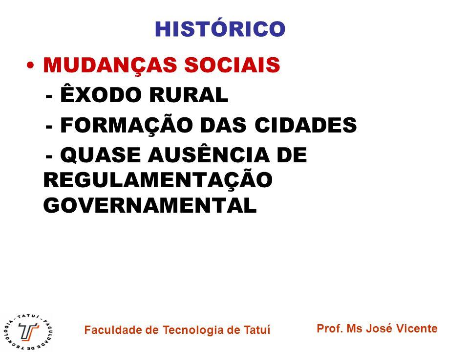 Faculdade de Tecnologia de Tatuí Prof. Ms José Vicente HISTÓRICO MUDANÇAS SOCIAIS - ÊXODO RURAL - FORMAÇÃO DAS CIDADES - QUASE AUSÊNCIA DE REGULAMENTA