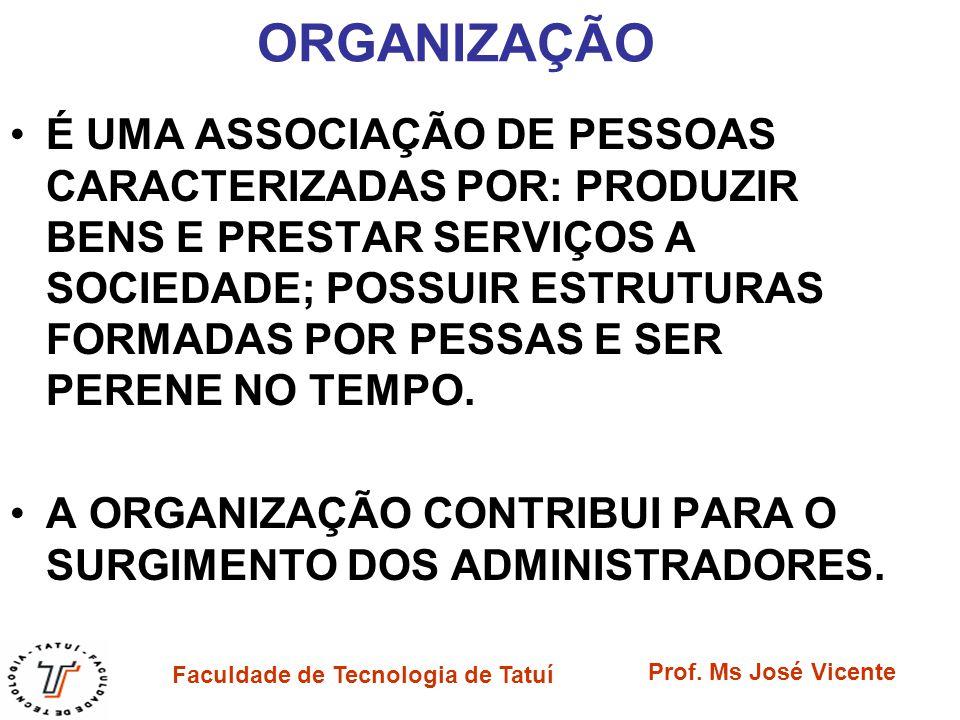 Faculdade de Tecnologia de Tatuí Prof. Ms José Vicente ORGANIZAÇÃO É UMA ASSOCIAÇÃO DE PESSOAS CARACTERIZADAS POR: PRODUZIR BENS E PRESTAR SERVIÇOS A