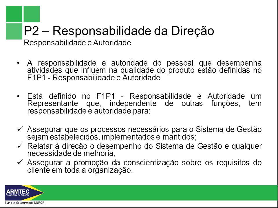 P2 – Responsabilidade da Direção Responsabilidade e Autoridade A responsabilidade e autoridade do pessoal que desempenha atividades que influem na qualidade do produto estão definidas no F1P1 - Responsabilidade e Autoridade.