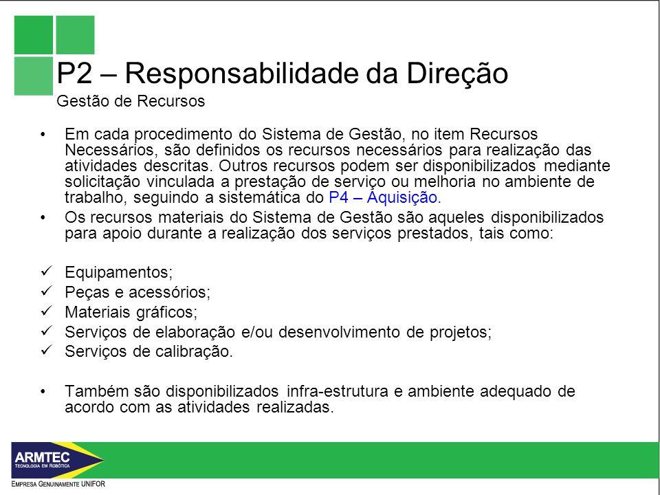 P2 – Responsabilidade da Direção Gestão de Recursos Em cada procedimento do Sistema de Gestão, no item Recursos Necessários, são definidos os recursos necessários para realização das atividades descritas.