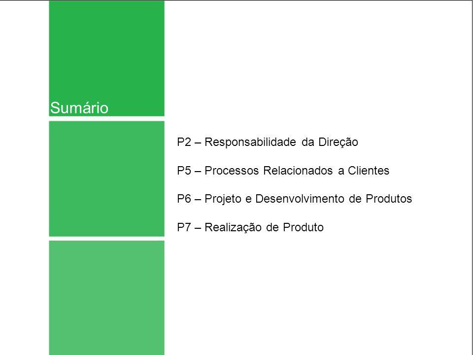 Sumário P2 – Responsabilidade da Direção P5 – Processos Relacionados a Clientes P6 – Projeto e Desenvolvimento de Produtos P7 – Realização de Produto