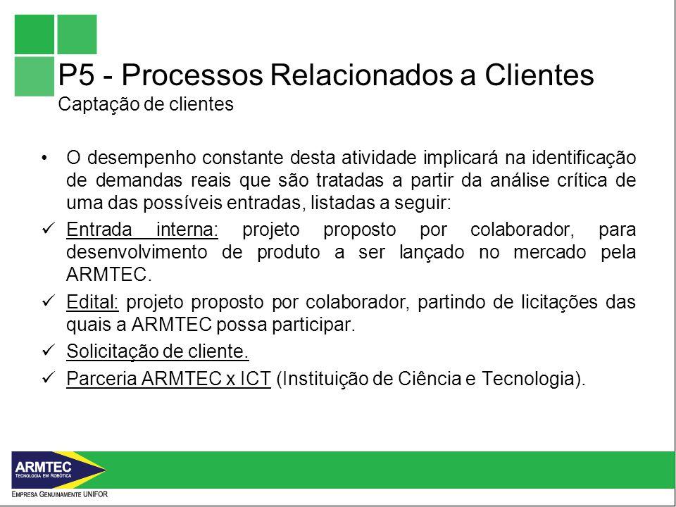 P5 - Processos Relacionados a Clientes Captação de clientes O desempenho constante desta atividade implicará na identificação de demandas reais que são tratadas a partir da análise crítica de uma das possíveis entradas, listadas a seguir: Entrada interna: projeto proposto por colaborador, para desenvolvimento de produto a ser lançado no mercado pela ARMTEC.