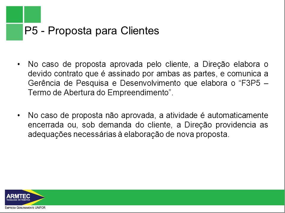 P5 - Proposta para Clientes No caso de proposta aprovada pelo cliente, a Direção elabora o devido contrato que é assinado por ambas as partes, e comunica a Gerência de Pesquisa e Desenvolvimento que elabora o F3P5 – Termo de Abertura do Empreendimento.