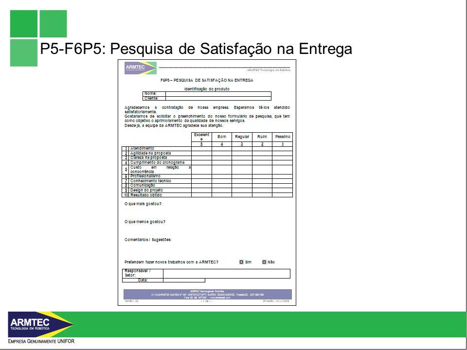 P5-F6P5: Pesquisa de Satisfação na Entrega