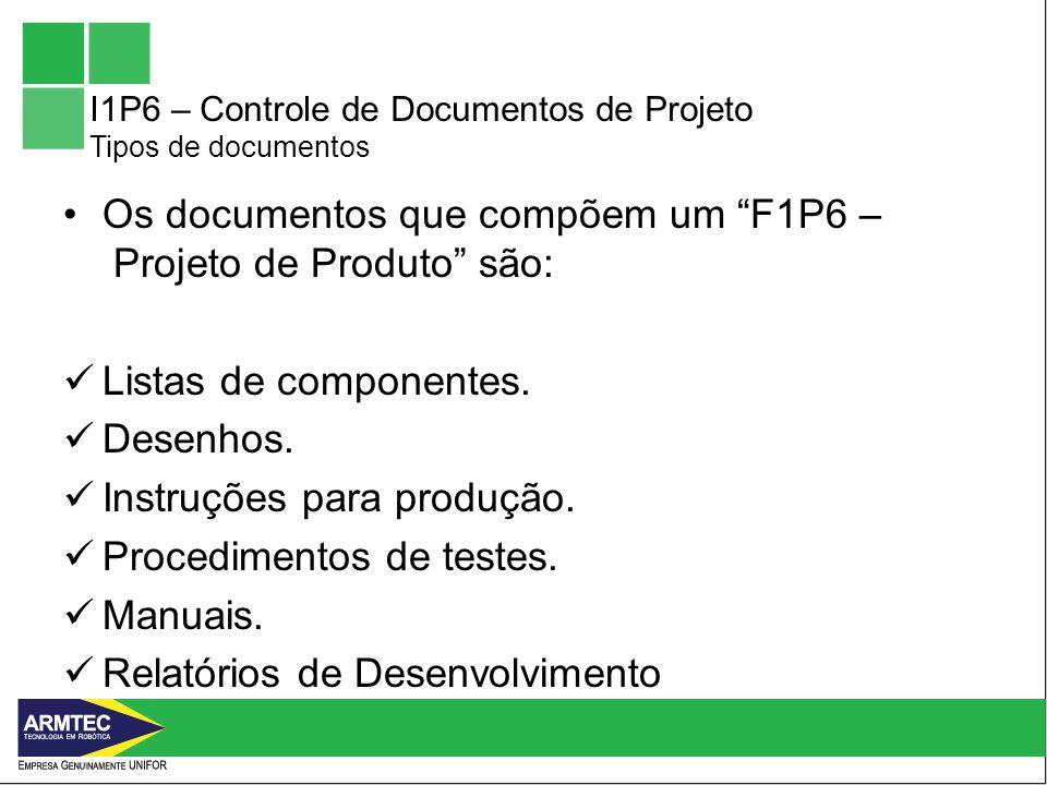 I1P6 – Controle de Documentos de Projeto Tipos de documentos Os documentos que compõem um F1P6 – Projeto de Produto são: Listas de componentes.