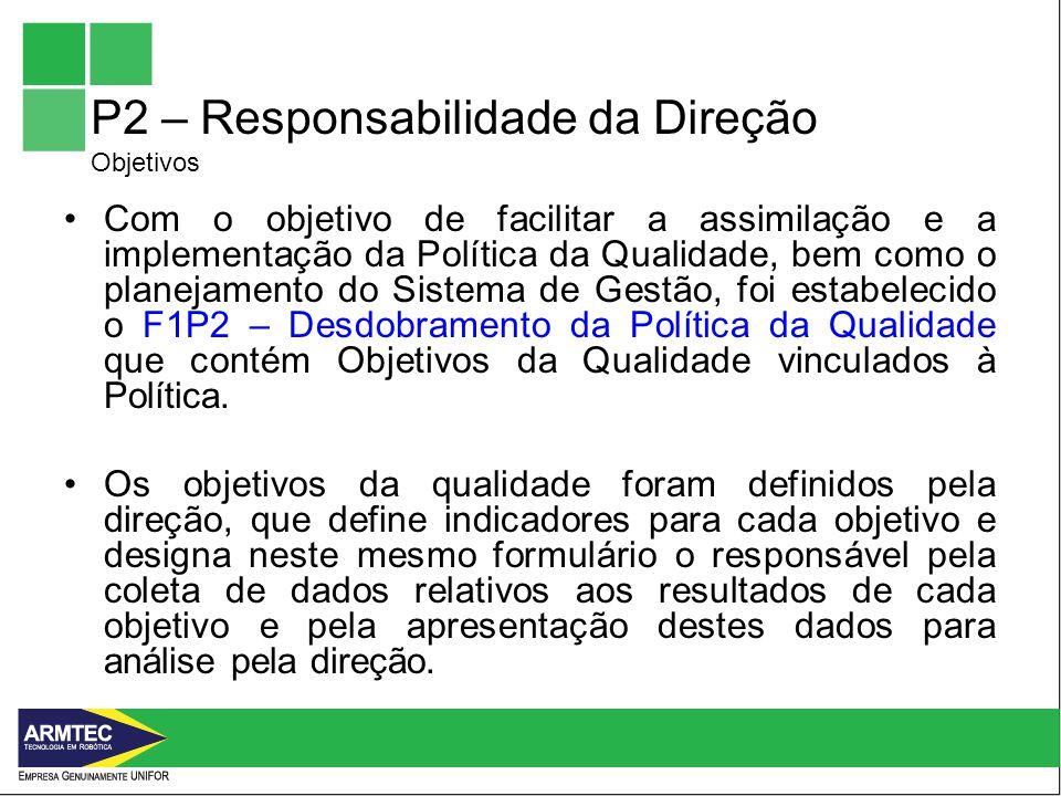 P2 – Responsabilidade da Direção Objetivos Com o objetivo de facilitar a assimilação e a implementação da Política da Qualidade, bem como o planejamento do Sistema de Gestão, foi estabelecido o F1P2 – Desdobramento da Política da Qualidade que contém Objetivos da Qualidade vinculados à Política.