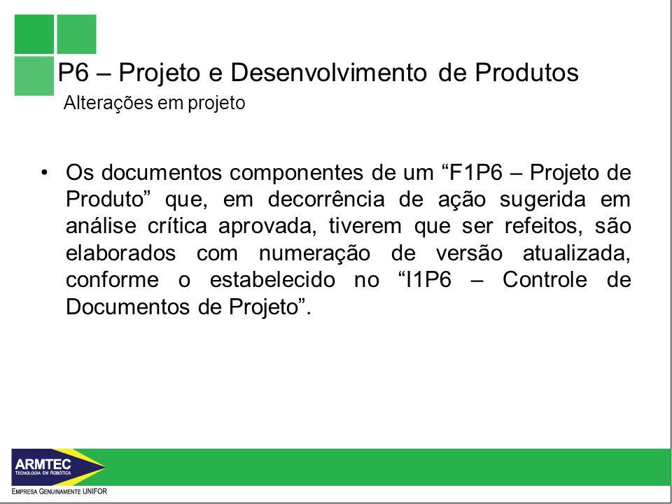 P6 – Projeto e Desenvolvimento de Produtos Alterações em projeto Os documentos componentes de um F1P6 – Projeto de Produto que, em decorrência de ação sugerida em análise crítica aprovada, tiverem que ser refeitos, são elaborados com numeração de versão atualizada, conforme o estabelecido no I1P6 – Controle de Documentos de Projeto.
