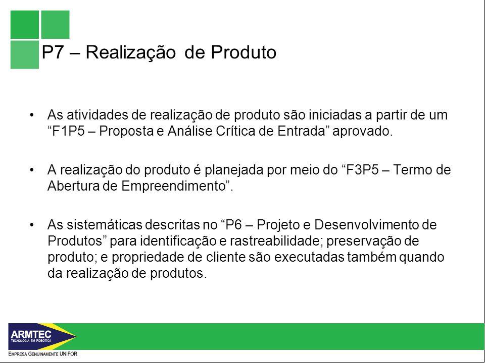 P7 – Realização de Produto As atividades de realização de produto são iniciadas a partir de um F1P5 – Proposta e Análise Crítica de Entrada aprovado.