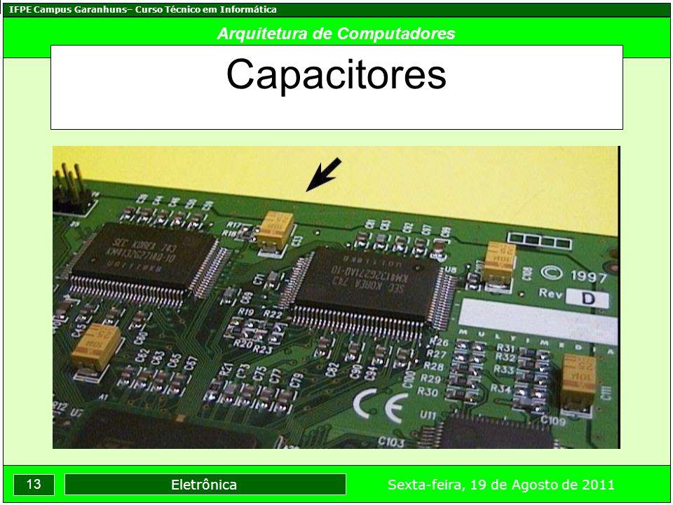 IFPE Campus Garanhuns– Curso Técnico em Informática 13 Sexta-feira, 19 de Agosto de 2011 Eletrônica Arquitetura de Computadores Capacitores