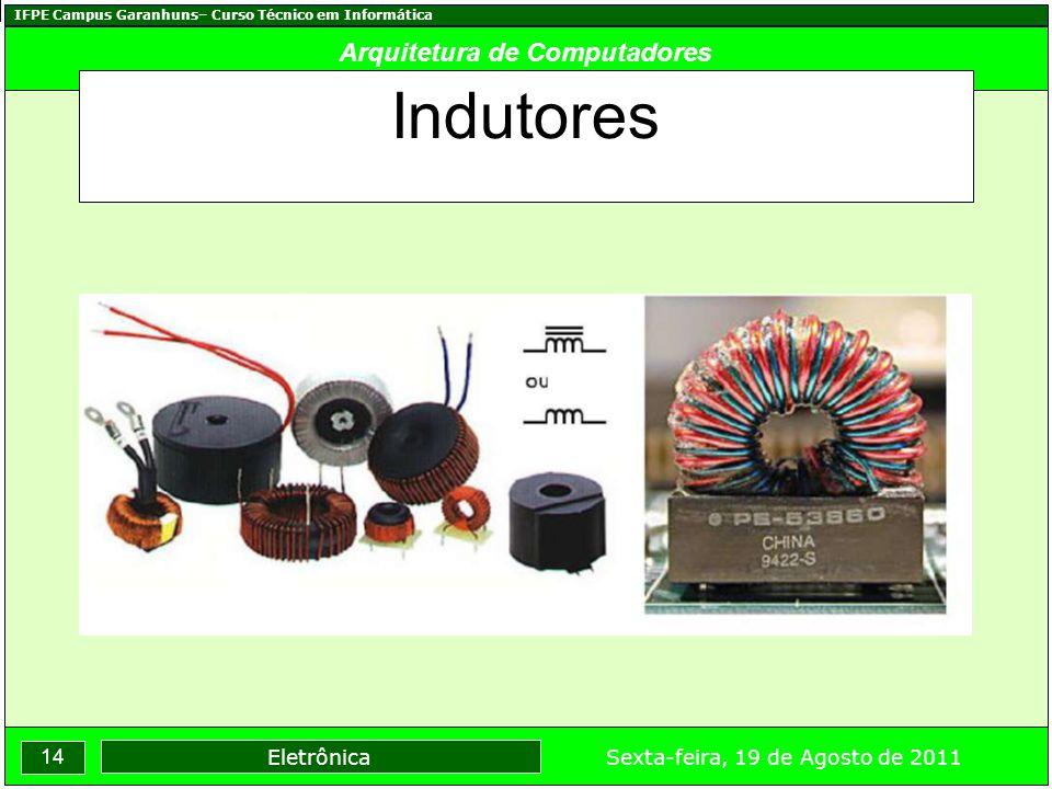 IFPE Campus Garanhuns– Curso Técnico em Informática 14 Sexta-feira, 19 de Agosto de 2011 Eletrônica Arquitetura de Computadores Indutores