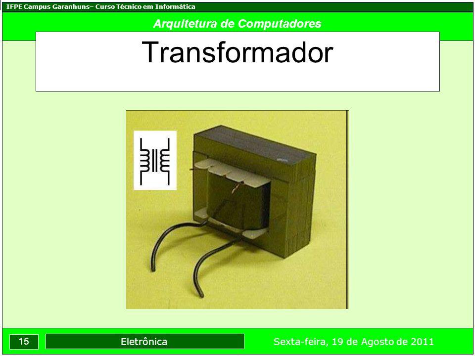 IFPE Campus Garanhuns– Curso Técnico em Informática 15 Sexta-feira, 19 de Agosto de 2011 Eletrônica Arquitetura de Computadores Transformador