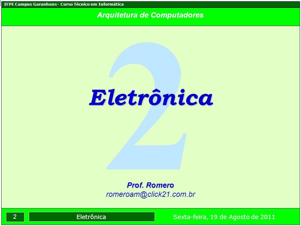 IFPE Campus Garanhuns– Curso Técnico em Informática 2 Sexta-feira, 19 de Agosto de 2011 Eletrônica Arquitetura de Computadores 2 Eletrônica Prof. Rome