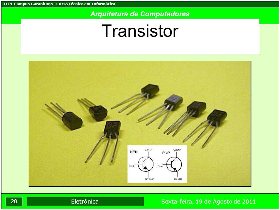 IFPE Campus Garanhuns– Curso Técnico em Informática 20 Sexta-feira, 19 de Agosto de 2011 Eletrônica Arquitetura de Computadores Transistor
