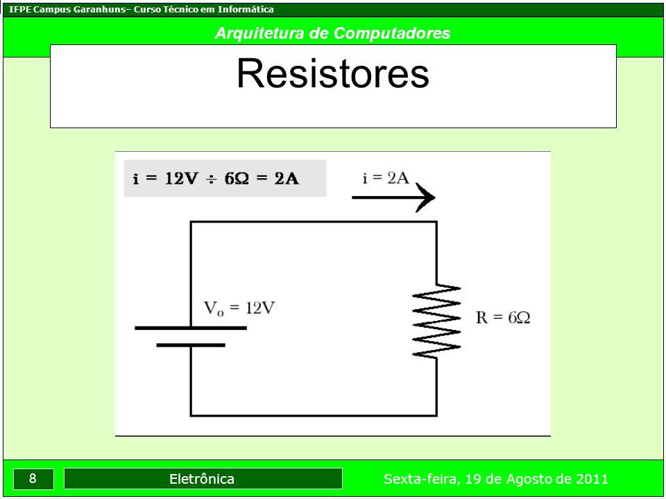 IFPE Campus Garanhuns– Curso Técnico em Informática 8 Sexta-feira, 19 de Agosto de 2011 Eletrônica Arquitetura de Computadores Resistores