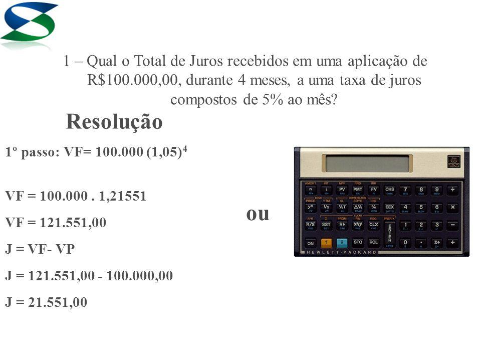 Resolução 1º passo: VF= 100.000 (1,05) 4 VF = 100.000. 1,21551 VF = 121.551,00 J = VF- VP J = 121.551,00 - 100.000,00 J = 21.551,00 ou 1 – Qual o Tota