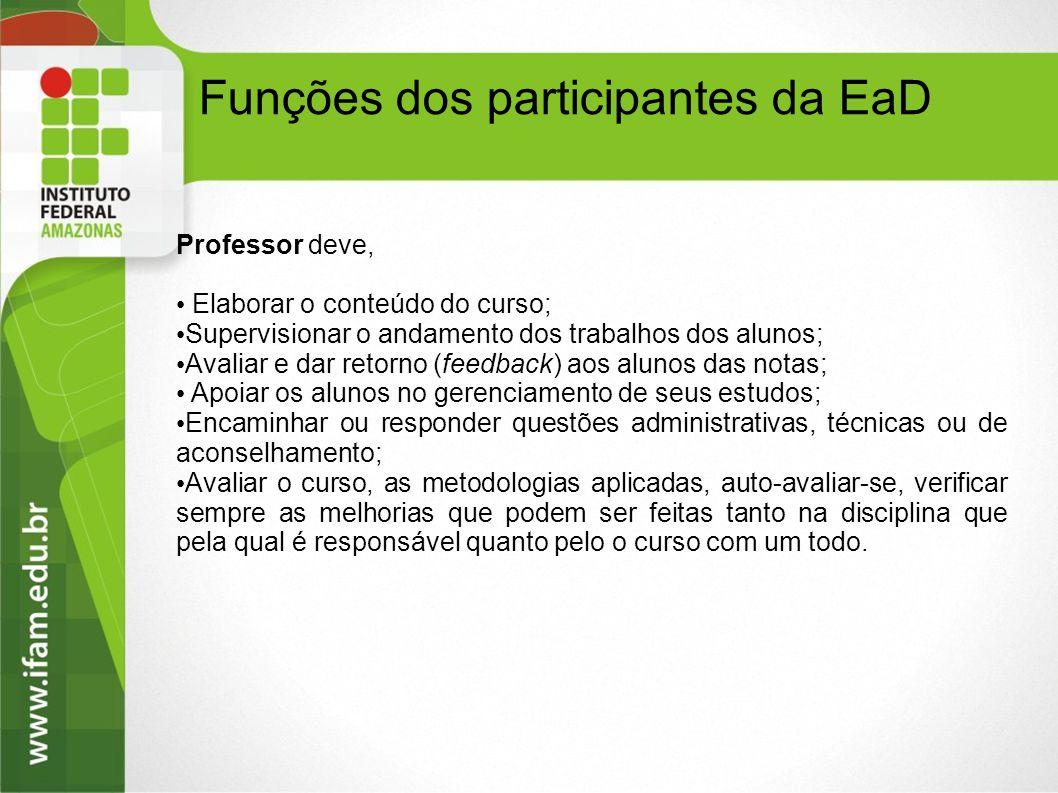 Professor deve, Elaborar o conteúdo do curso; Supervisionar o andamento dos trabalhos dos alunos; Avaliar e dar retorno (feedback) aos alunos das nota