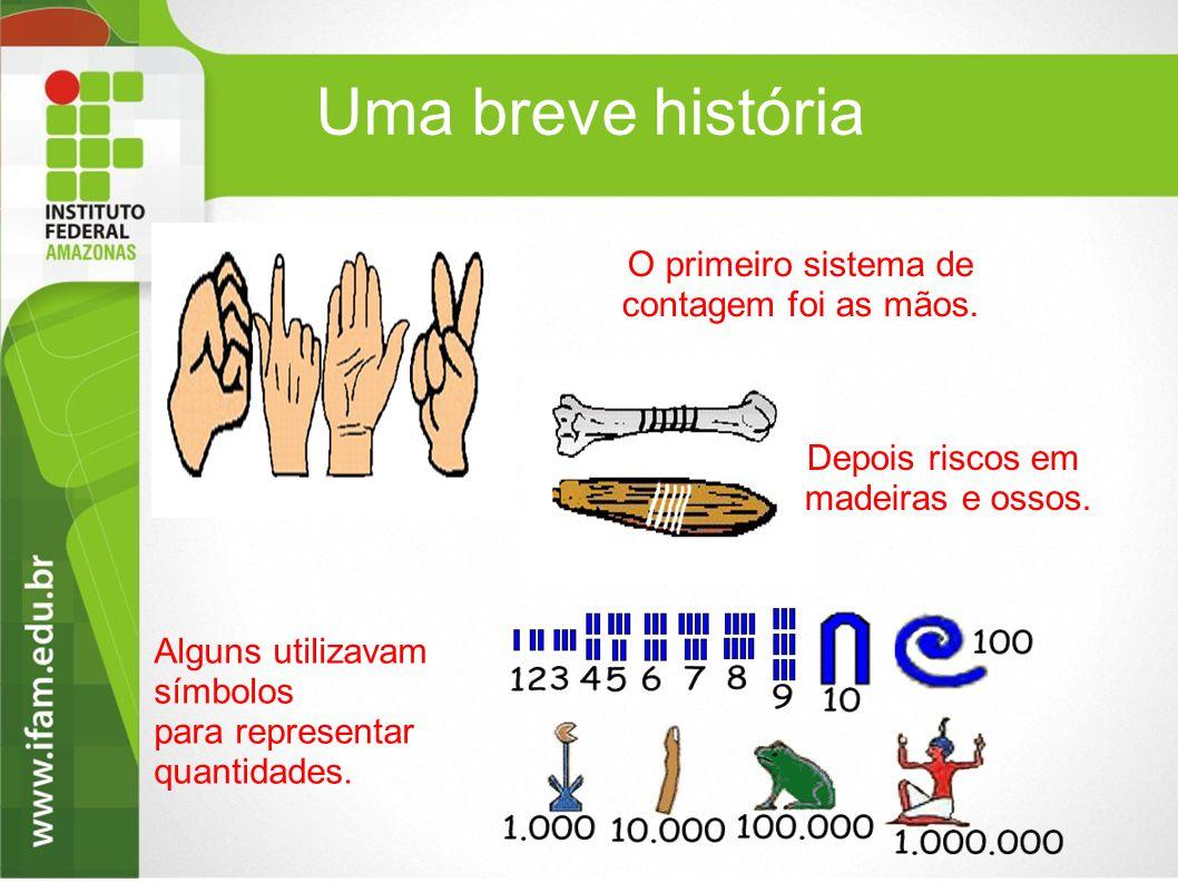 Uma breve história Alguns utilizavam símbolos para representar quantidades. O primeiro sistema de contagem foi as mãos. Depois riscos em madeiras e os