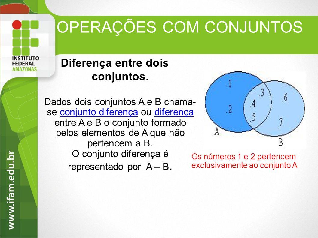 OPERAÇÕES COM CONJUNTOS Diferença entre dois conjuntos. Dados dois conjuntos A e B chama- se conjunto diferença ou diferença entre A e B o conjunto fo