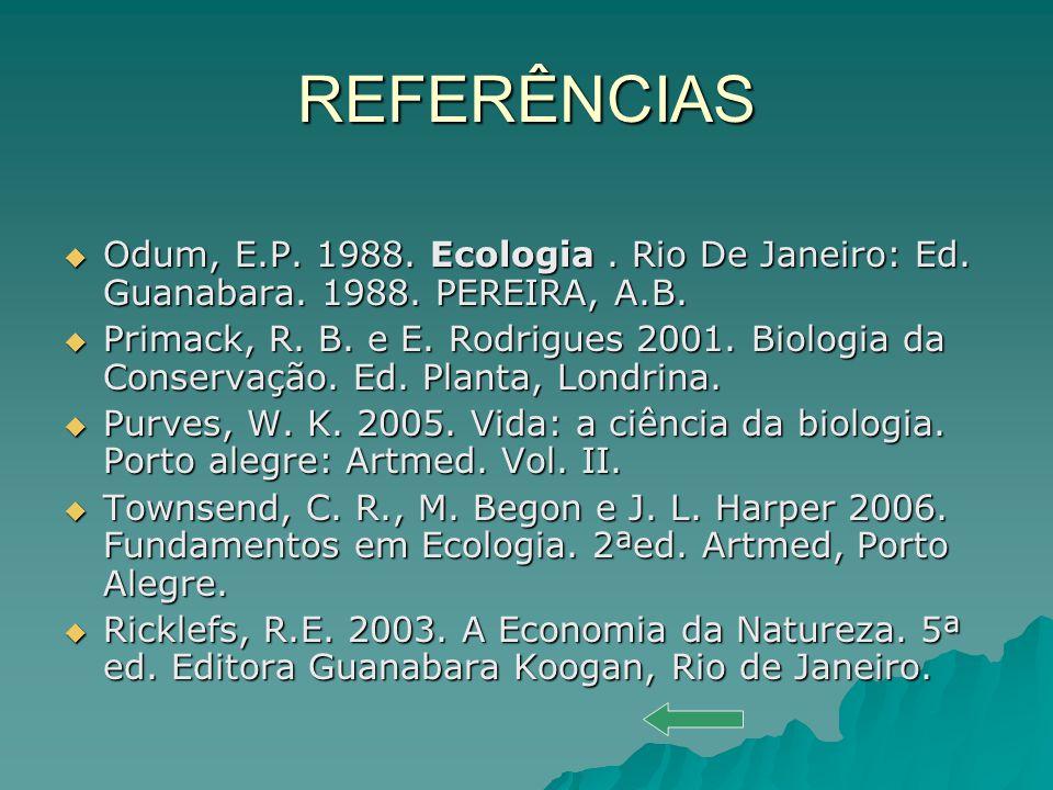 REFERÊNCIAS Odum, E.P. 1988. Ecologia. Rio De Janeiro: Ed. Guanabara. 1988. PEREIRA, A.B. Odum, E.P. 1988. Ecologia. Rio De Janeiro: Ed. Guanabara. 19