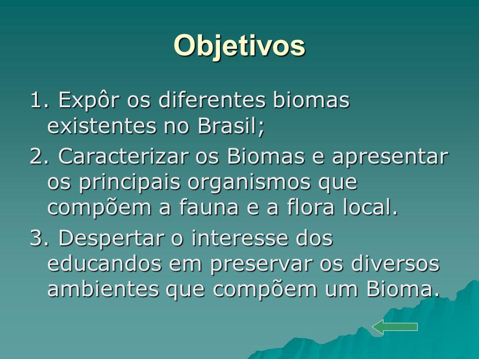 Objetivos 1. Expôr os diferentes biomas existentes no Brasil; 2. Caracterizar os Biomas e apresentar os principais organismos que compõem a fauna e a