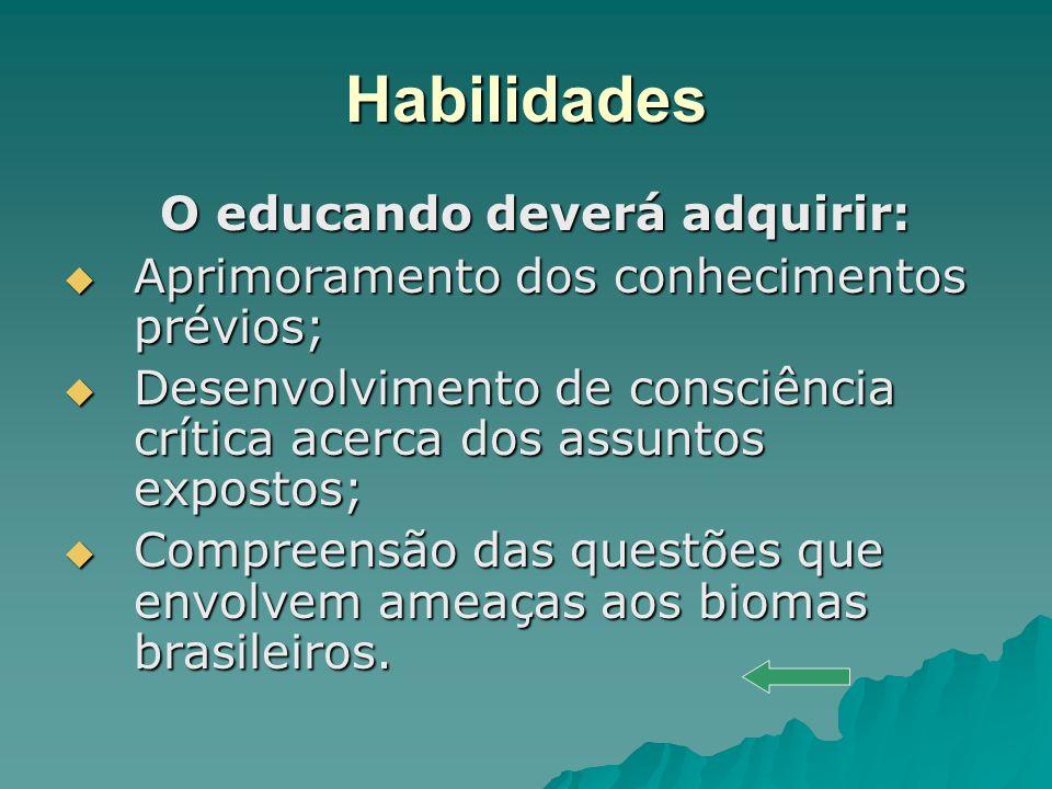 Habilidades O educando deverá adquirir: O educando deverá adquirir: Aprimoramento dos conhecimentos prévios; Aprimoramento dos conhecimentos prévios;