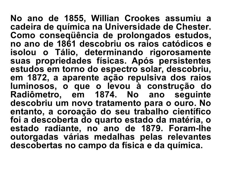 No ano de 1855, Willian Crookes assumiu a cadeira de química na Universidade de Chester.