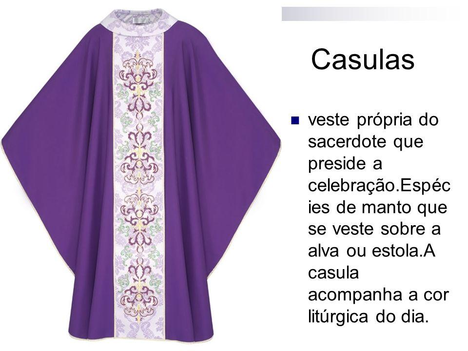 Casulas veste própria do sacerdote que preside a celebração.Espéc ies de manto que se veste sobre a alva ou estola.A casula acompanha a cor litúrgica do dia.