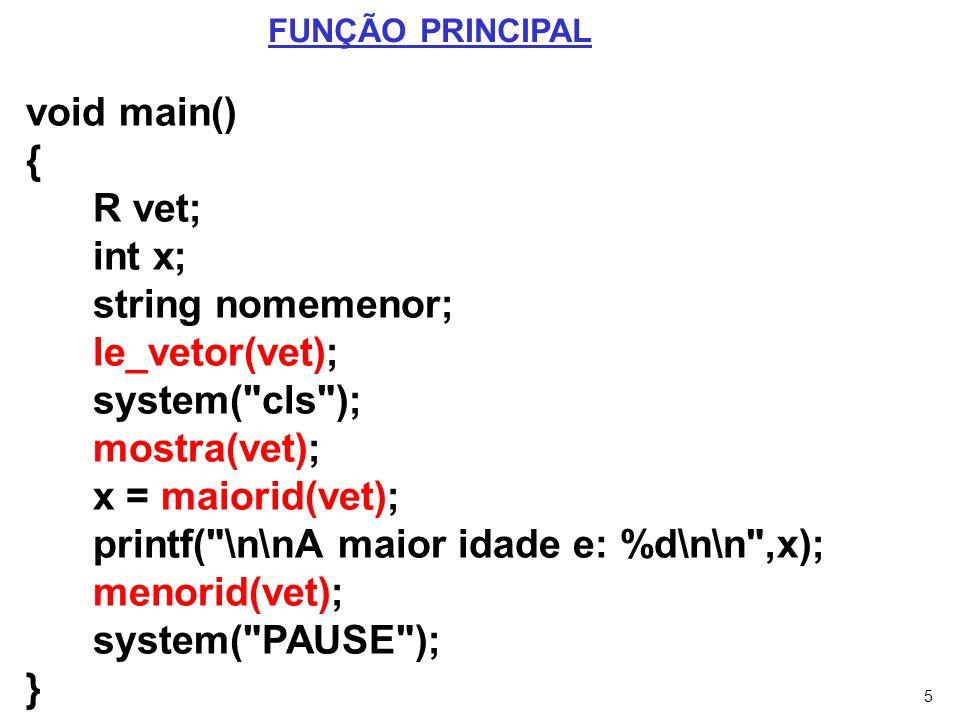 6 void le_vetor(R v) { int x; for(x=0;x<MAX;x++) { printf( \nNome: ); scanf( %s ,v[x].nome); printf( \nIdade: ); scanf( %d ,&v[x].idade); } PROCEDIMENTO LE_VETOR