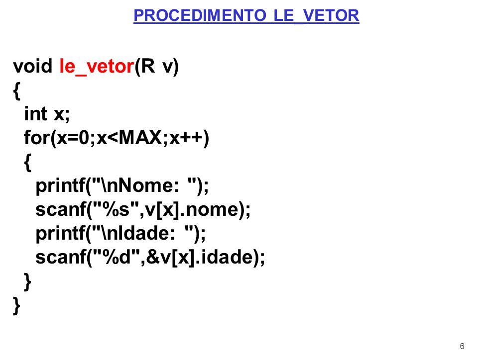7 void mostra(R v) { int x; printf( \nOs elementos inseridos são: ); for(x=0;x<MAX;x++) { printf( \nNome: %s ,v[x].nome); printf( \nIdade: %d ,v[x].idade); } PROCEDIMENTO MOSTRA