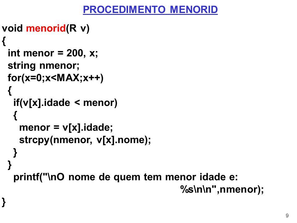 9 void menorid(R v) { int menor = 200, x; string nmenor; for(x=0;x<MAX;x++) { if(v[x].idade < menor) { menor = v[x].idade; strcpy(nmenor, v[x].nome);