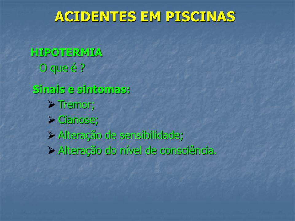 ACIDENTES EM PISCINAS Hipotermia; Hipotermia; Hidrocussão; Hidrocussão; TCE/TRM; TCE/TRM; Afogamento. Afogamento.