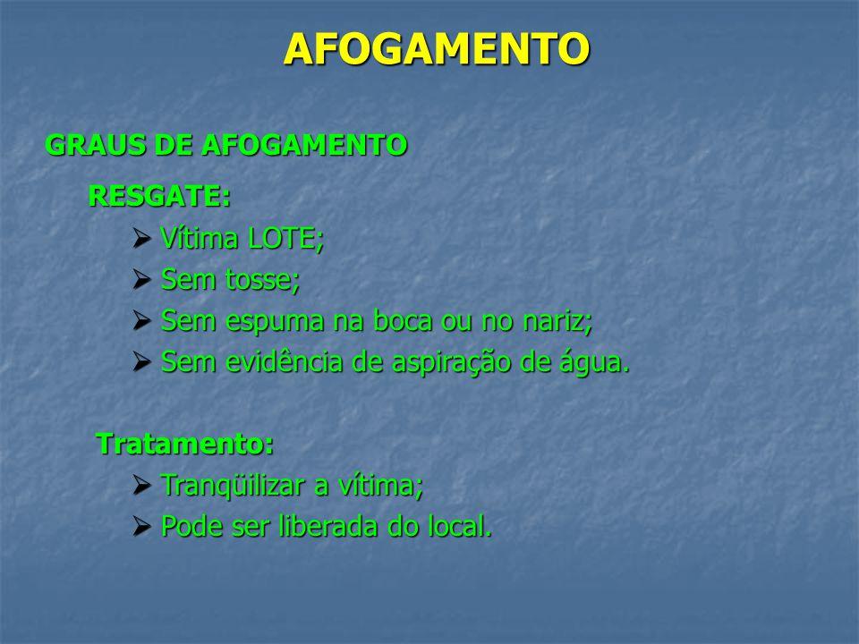 AFOGAMENTO GRAUS DE AFOGAMENTO Incidência de óbitos: Resgate; Resgate; Grau 1; Grau 1; Grau 2; Grau 2; Grau 3; Grau 3; Grau 4; Grau 4; Grau 5; Grau 5;