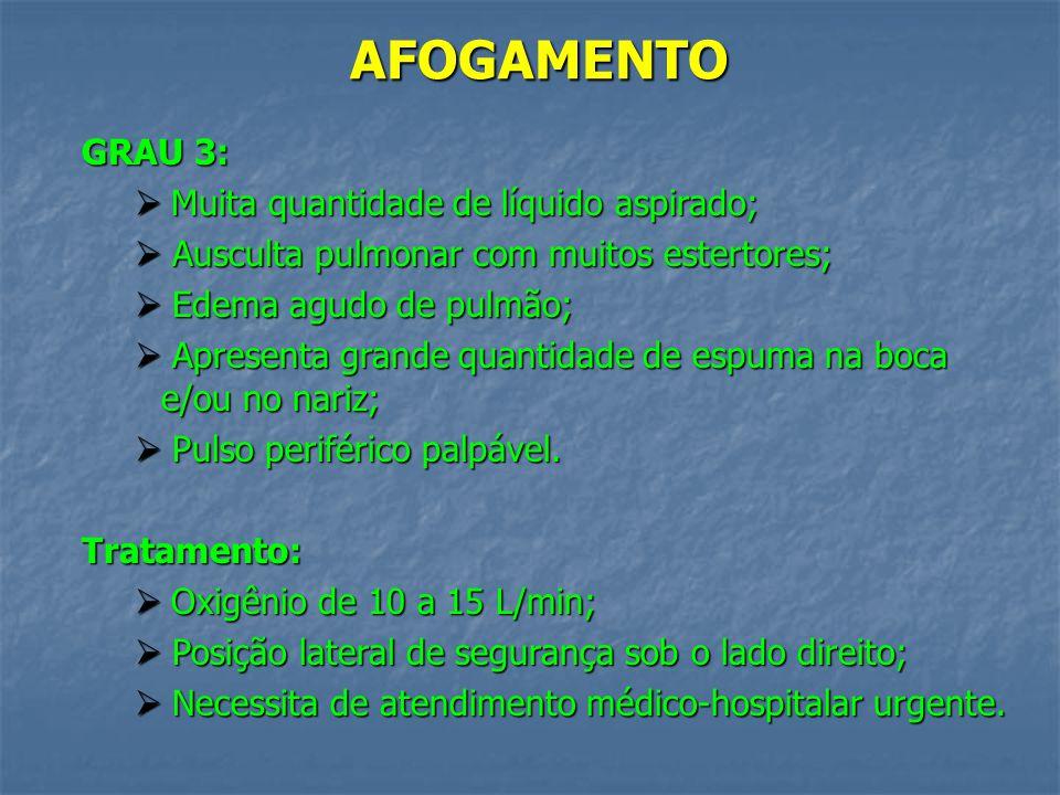 AFOGAMENTO GRAU 2: Quantidade considerável de líquido aspirado; Quantidade considerável de líquido aspirado; Vítima torporosa, agitada e/ou desorienta