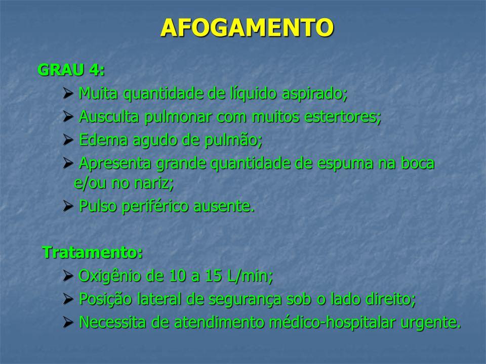 AFOGAMENTO GRAU 3: Muita quantidade de líquido aspirado; Muita quantidade de líquido aspirado; Ausculta pulmonar com muitos estertores; Ausculta pulmo